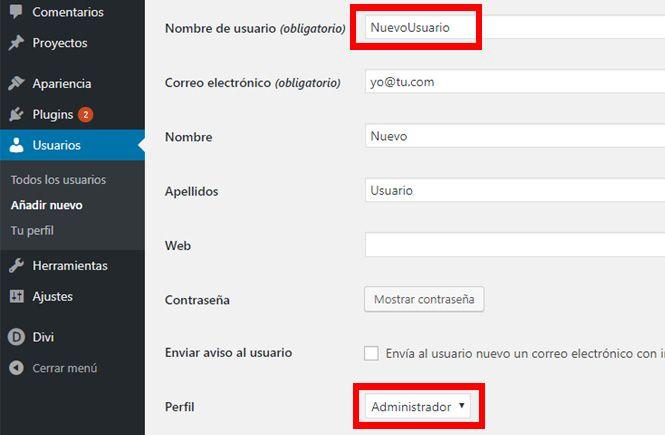 Crear un usuario con Rol Administrador