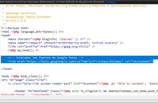 Pegar el código para instalar las fuentes de Google Fonts