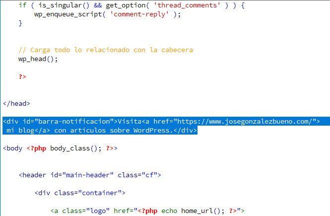 Pegar el código para insertar la barra de notificación