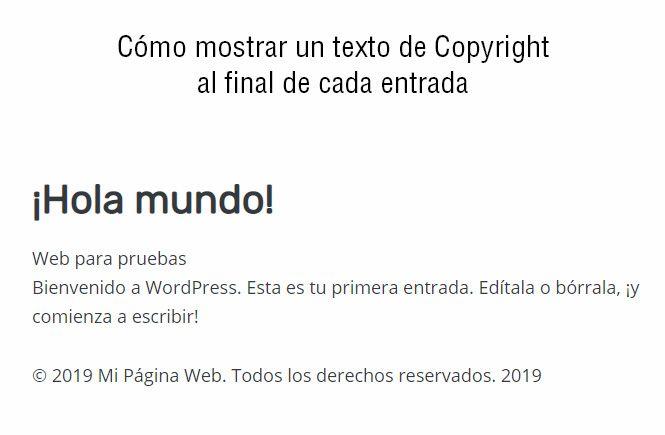 Mostrar texto de Copyright al final de cada entrada