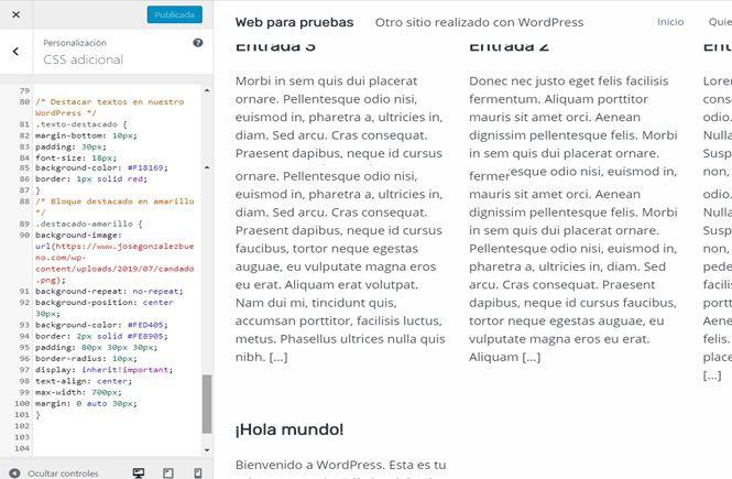 Código CSS para destacar textos en WordPress