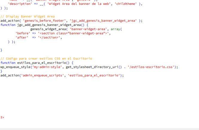 Código para crear zona de administración personalizada con CSS