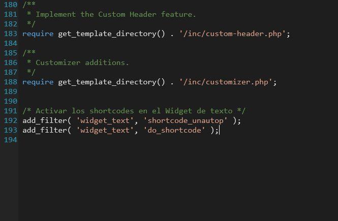 Pegar el código en el archivo functions.php para que el shortcode esté disponible solo en tu Tema activo