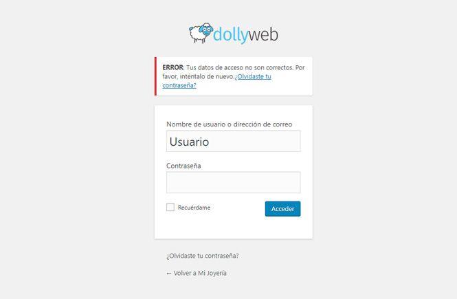 Personalizar el mensaje de error en el login