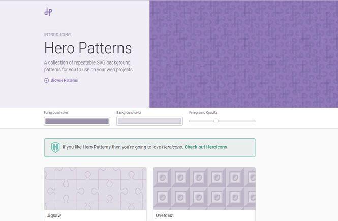 imágenes de patrones como fondos de Hero Patterns