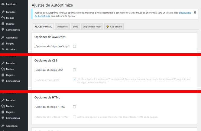 Comprimir el CSS y los scripts: activar las opciones necesarias en Autoptimize