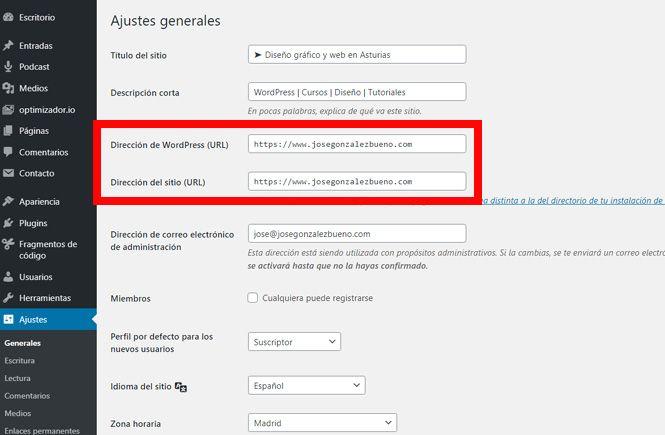 Cómo solucionar el cambio de Dirección de WordPress
