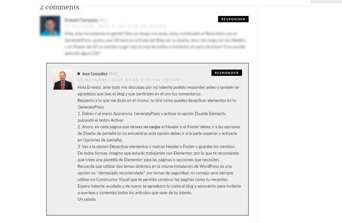 Destacar los comentarios del autor de la entrada