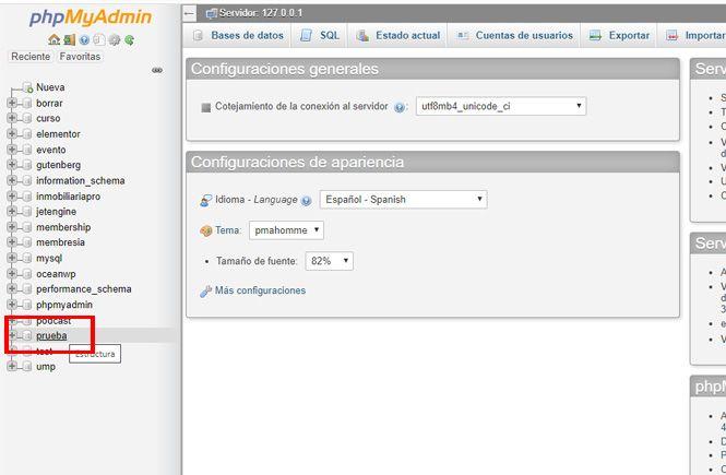 Seleccionar la base de datos de nuestro WordPress