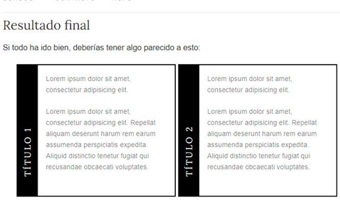 Resultado final del efecto para poner texto vertical en WordPress